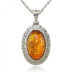 Exquisite Silver and Amber Oval NecklaceNecklaces