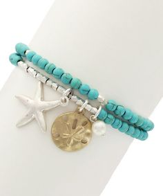 Take a look at this Turquoise & Two-Tone Aleyda Stretch Bracelet Set on zulily today!