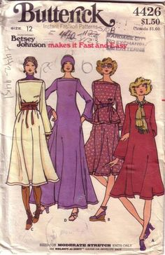 Butterick 4426 Vintage Betsey Johnson boat-neck fit-and-flare dress uncut sewing pattern for knits Dress Making Patterns, Vintage Dress Patterns, Clothing Patterns, 70s Fashion, Fashion History, Vintage Fashion, Vintage Outfits, Patron Vintage, Vintage Mode
