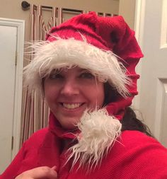 Recycled Sweater Santa Hat XL extra long by by CraftedByAuntyEm