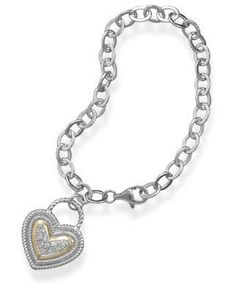Bracelet with Silver and Gold CZ Heart