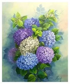 Hydrangea Screen Price and dimensions in workshop … - Painting Acrylic Flowers, Watercolor Flowers, Art Floral, Watercolour Painting, Painting & Drawing, Hydrangea Painting, Impressions Botaniques, Botanical Prints, Painting Inspiration