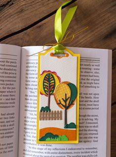 Handcrafted Bookmark with Autumn Trees Friendship Gifts, Autumn Trees, Birthday Presents, Bookmarks, Book Lovers, Gift Tags, Handmade Items, Paper Crafts, Crafty
