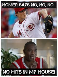 "Homer Bailey gave the Giants the Dikembe Mutombo finger wag during his no-hitter tonight. He said ""No hits in my house!"""