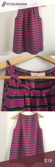Ann Taylor Loft striped tank 100% polyester. Purple, navy and gold stripes. LOFT Tops Tank Tops