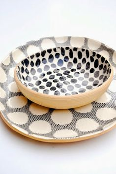 Coordinating spots and dots make a charming pair in this sturdy two-piece serving set, perfect for bright foods and brunches. - Tray: wide x long - Bowl: diameter - Stoneware - Food safe, dishwasher safe - Made in New York City Ceramic Tableware, Ceramic Pottery, Kitchenware, Assiette Design, Deco Paris, Cerámica Ideas, Safe Food, Stoneware, Earthenware