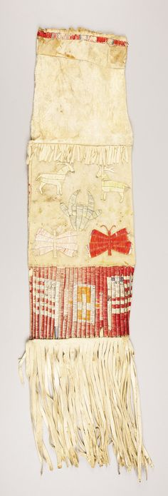 A SIOUX PICTORIAL QUILLED HIDE TOBACCO BAG. . c. 1880. ... American | Lot #77166 | Heritage Auctions