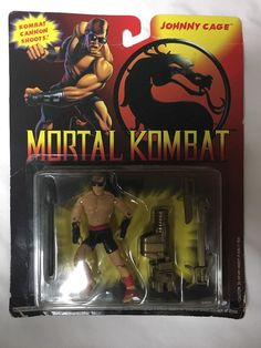 "1994 Hasbro MORTAL KOMBAT JOHNNY CAGE 3.75"" FIGURE MOC 