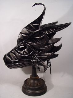 Bob Basset's Lair – Black Dragon Leather Mask Dragon Mask, Leather Mask, Black Dragon, Masquerade, Dragons, Character Art, Lion Sculpture, Masks, Bob