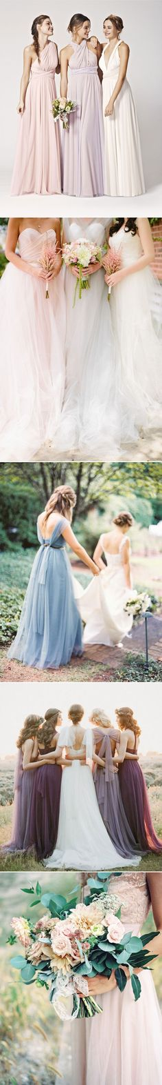 trending long tulle bridesmaid dresses fall 2015