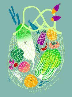 Inclusive Groceries II, an art print by Subin Yang - Obst Art And Illustration, Vegetable Illustration, Food Illustrations, Food Branding, Web Design, Poster Prints, Art Prints, Grafik Design, Art Inspo