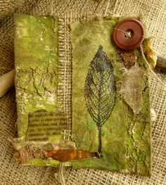 Hello This project is another article in the Jan/Feb issue of Somerset Studio, it was in answer to an art call for the colour Olive which isn't a colour which I would normally reach for but I… Nature Journal, Journal Art, Junk Journal, Art Journals, Tea Bag Art, Nature Study, Autumn Art, Mixed Media Collage, Altered Books