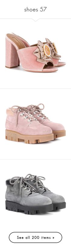 """""""shoes 57"""" by minatsukichan ❤ liked on Polyvore featuring shoes, mule shoes, aquazzura shoes, aquazzura, cameo shoes, boots, ankle booties, pink, pink suede booties and pink boots"""
