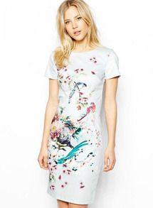 Blue Short Sleeve Floral Slim Bodycon Dress - Sheinside.com