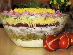 Wielkanocna warstwowa sałatka na kolorowo Tzatziki, Easter Recipes, Food Design, Creative Design, Salad Recipes, Food And Drink, Cooking Recipes, Favorite Recipes, Nutrition