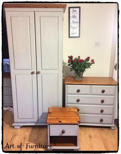 Pine Bedroom Furniture, Bedroom Furniture Makeover, Hand Painted Furniture, Upcycled Furniture, Hygge Home, Blue Bedroom, Cabinet Design, Tall Cabinet Storage, Shelves