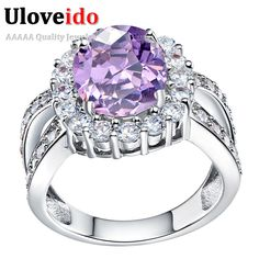 Find More Rings Information about Uloveido 40% Off Wedding Purple Rings for Women Fashion Silver Ring 2016 CZ Diamond Ring…