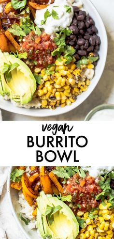 HEALTHY Vegan Burrito Bowl made over the stove in under 30 minutes. It's an easy vegetarian recipe that's perfect for meal prep to enjoy throughout the week for dinner healthy vegetarian Vegan Burrito Bowl Vegetarian Recipes Videos, Vegetarian Breakfast Recipes, Healthy Crockpot Recipes, Vegetarian Bowl, Vegetarian Burrito, Healthy Vegetarian Dinner Recipes, Vegan Recipes Easy Healthy, Vegan Recipes For One, Vegetarian Italian