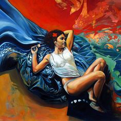 Cristian Blanxer #art #painting #illustration #lounging #ipod #listen #ocean #beach #relaxation #girl #pretty #red #blue