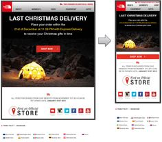 Responsive email design from North Face