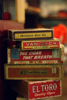 Straight out of my work shop -  '50′s cigar boxes (storage containers) -