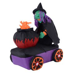 6FT Halloween Inflatable Witch Cauldron Lighted Yard/Indoor Decoration Airblown