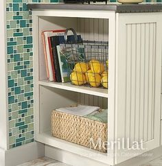 Open shelves offer flexible storage and display space for cookbooks, baskets, decorative items and more. - http://www.merillat.com/merillat-classic-base-open-shelves/