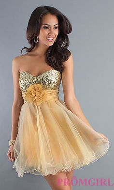 Strapless Baby Doll Party Dress at PromGirl.com