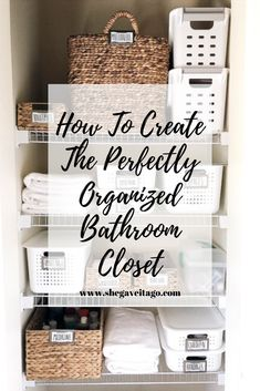 Organizing your bathroom closet with this easy step by step guide! Organizing your bathroom closet with this easy step by step guide! Bathroom Closet Organization, Diy Organisation, Organized Bathroom, Closet Organization Storage, How To Organize A Bathroom, Organize Bathroom Cabinets, Bathroom Shelves, Organizing Ideas, Container Store