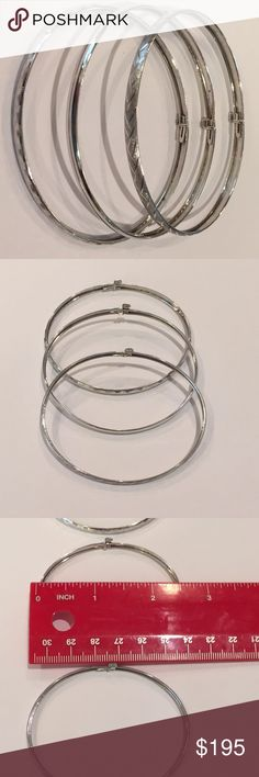 10k White Gold Trio Bangles Pre-loved dainty bangles fit for small wrist, plain bangle has a small dent not obvious when worn (see photos 7 & 8). Set in 10k gold. Jewelry
