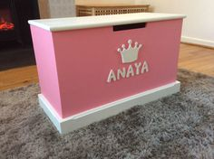 Bespoke handmade toy box. Personalised and Finished in powder pink.