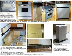 Doll Divas - Diorama Portfolio a Barbie kitchen how to, lots of ideas and instructions can be halved for 1:12