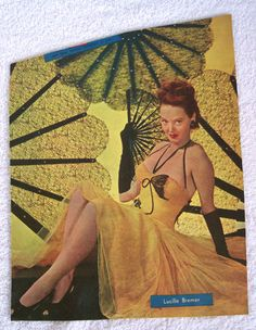 "Lucille Bremer 1940's Magazine Clipping Orig. Color Tint 12""x9"" Hollywood Estate"