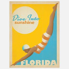 """Summer is a state of mind…and that state is Florida. Designed to look like a vintage print from the early to mid-1900s, this Diver Florida Ad by Anderson Design Group is part of the """"Art and Soul of America Collection,"""" which celebrates our cities and national parks.$27"""