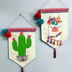 COMO HACER BANDERINES MUY LINDOS Y FÁCILES #fieltro #banderin #manualidades #cactus #tela #pompones #molde #unicornio