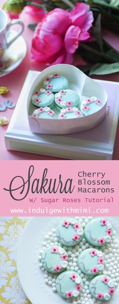 Cherry Blossom Macarons with Sugar Roses would be great for a Spring or Summer Wedding.