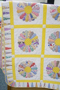 A Dresden Plate quilt made by someone in my quilting guild. I love the bright color combinations.
