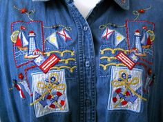 Bobbie Brooks Womens Denim Shirt 22-24W Sailboats Lighthouse Anchor 3D Buttons #BobbieBrooks #ButtonDownShirt #Casual