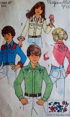 Boys & Girls Western Shirt Vintage Sewing by Sutlerssundries, $5.50