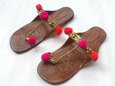 Boho Style Gold Kolhapuri Chappals/Shoes for Women/Women Flats/Women Sandals - Red and Pink Pom Pom Slippers