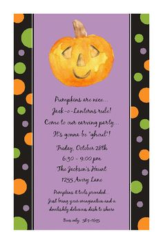 pumpkin carving custom halloween party invitation you print
