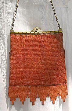 1920s  Art Deco Whiting Davis Dresden Mesh Handbag Flapper Purse