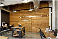 wood panel wall in common work area