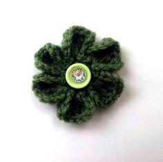 Flower Magnet Crocheted Button Center Bling