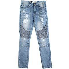 Bleecker & Mercer Slim Taper Fit Denim Mens P576-LBS L. Blue Jeans Size 34W 32L