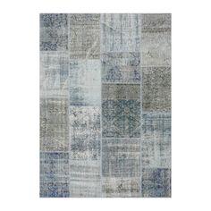 Vloerkleed Sohran Patchwork – Blauw/Grijs