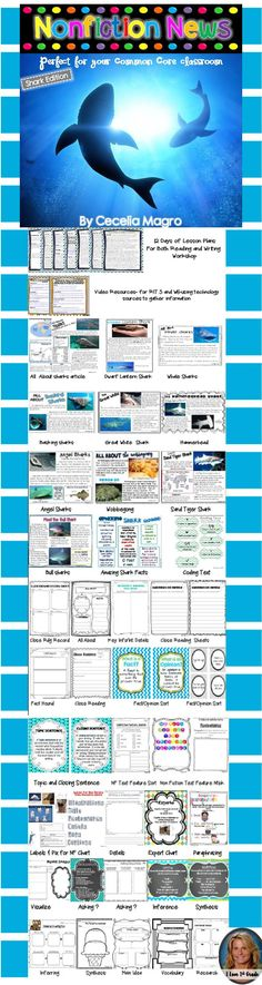 This 101 page product is what you need to implement ELA Common Core Standards in your classroom. It includes nonfiction articles for close reading on Ocean Animals - All About Sharks, Dwarf Lantern Shark, Whale Shark, Basking Shark, Great White Shark, Hammerhead, Angel Shark, Wobbegong, Sand Tiger Shark, Bull Shark and Amazing Shark Facts. The nonfiction articles include stunning photographs and nonfiction text features. They can be used in guided reading groups or whole class.