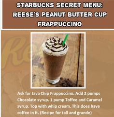 Starbucks Secret Menu: Reese's Peanut Butter Cup Frappuccino This is for you Dogger! Starbucks Hacks, Starbucks Frappuccino, Starbucks Secret Menu Drinks, Starbucks Order, Starbucks Coffee, Peanut Butter Cups, Secret Menu Items, Punch, Coffee Recipes