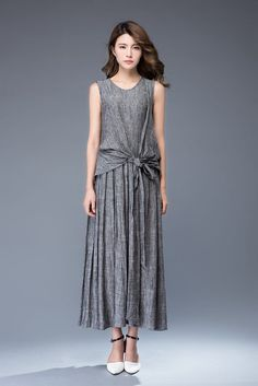 grey linen dress-sleeveless dress-round neck dress-tie belt