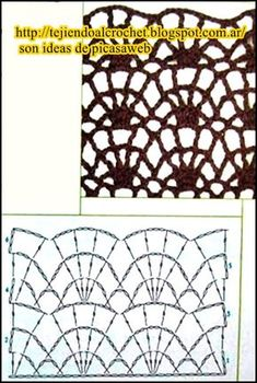 Patrones=ganchillo = crochet = graficos =tricot = dos agujas points with crocheting chart your patterns schemes graphs Crochet Diagram, Crochet Chart, Crochet Motif, Free Crochet, Crochet Stitches Patterns, Crochet Designs, Stitch Patterns, Crochet Market Bag, Crochet Girls
